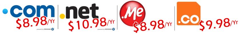 .COM Domains @ $8.98/Yr | .NET Domains @ $10.98/Yr | .ME Domains @ $8.98/Yr | .CO Domains @ $9.98/Yr!